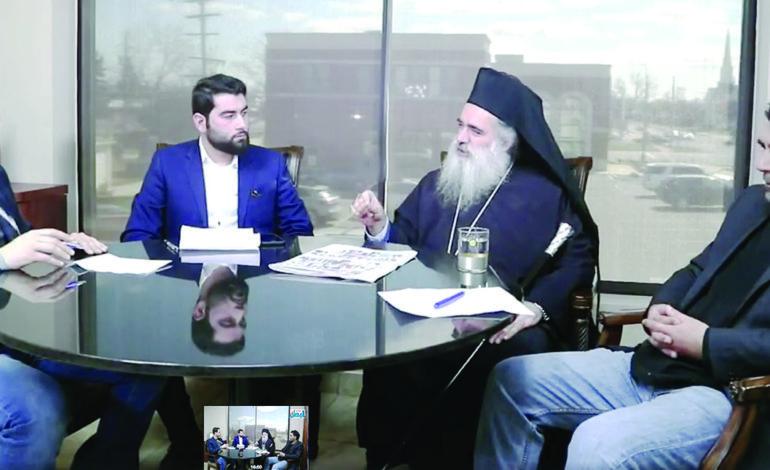 مطران القدس يزور مكاتب «صدى الوطن» في ديربورن .. ويدعو الجالية إلى التمسك بفلسطين والحقوق العربية