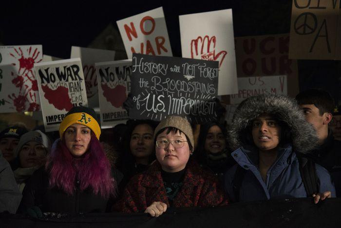 تظاهرة طلابية في آناربر احتجاجاً  على اغتيال سليماني