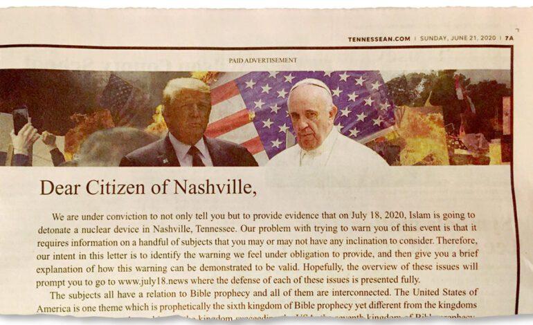 صحيفة أميركية تعتذر بعد نشر إعلان يحض على كراهية المسلمين في ولاية تينيسي