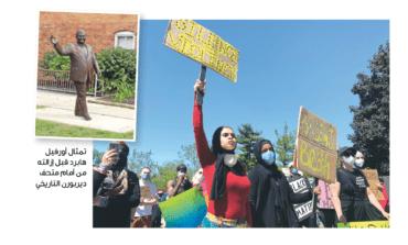 بلدية ديربورن تزيل تمثال رئيس البلدية الأسبق أورفيل هابرد .. ومتظاهرون يطالبون بالتخلص من أثره في المدينة
